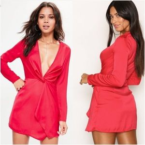 Missguided Silky Plunge Wrap Shift Red Dress NWT